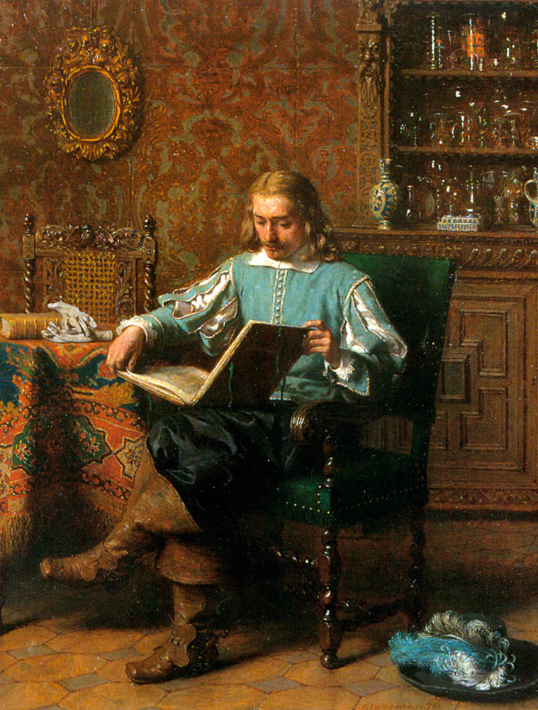 A Cavalrist Reading in a 17th Century Interior